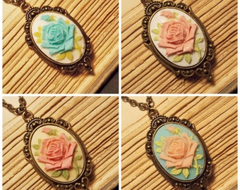 Victorian Rose Cameo Necklaces - 4 Colors Available
