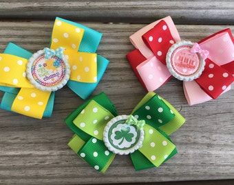 Holiday Hairbows / Valentines Bow / Easter Bow / St Patricks Day Bow / Set of 3