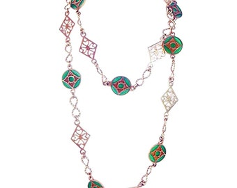 Necklace Long Chain Gold & Plique-à-jour Enamel Nouveau (#4786)