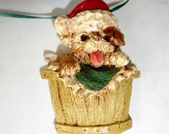 Vintage Resin Puppy in Basket Necklace Christmas Dog Jewelry