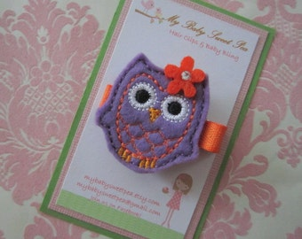 Girl hair clips - Halloween hair clips - owl hair clips - girl barrettes