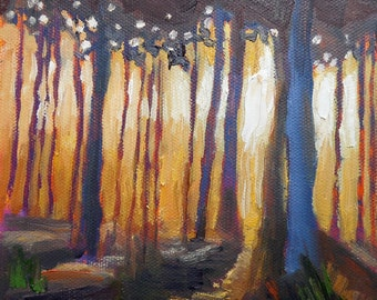 "Small Oil Landscape, Daily Painting, Small Oil Painting, Into the Woods by Carol Schiff, 6x6x1.5"" original oill"