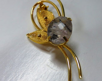 Gold Brooch --  ON SALE  -- Exotic Strawberry Quartz FireFly Pin - Gold-Filled Brooch / Pin