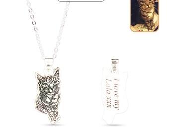 Custom Pet Necklace,Cat Photo Necklace,Cat Lover Necklace,Engraved Pendant Necklace,Custom Photo Necklace,Custom Necklace Sterling Silver