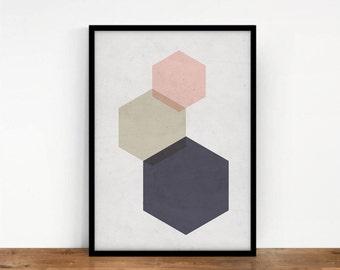 Hexagon Print, Geometric Art, Blush Pink Wall Art, Geometric Wall Decor, Abstract Art, Printable Art, Digital Print, Geometric Figures Print