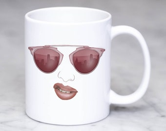 Coffee Mug-Rose Gold-Dior So Real Sunnies-Gift for Her-Tea Mug-Stylish Coffee Mug-Entrepreneur Mug-Lady Boss-Rose Gold Realness