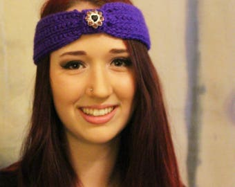 Purple Ear Warmers with Jewel Embellishment