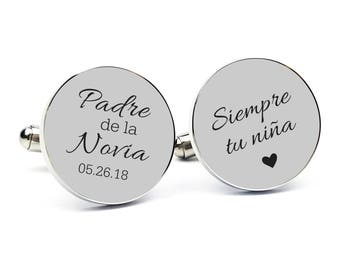 Personalized Cufflinks Engraved Cufflinks Round Cufflinks Cuff link Spanish Father of the Bride Cufflink Father of the Bride Gift