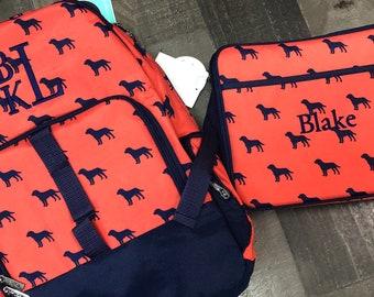 Monogrammed Backpack-- Book bag Monogrammed -- Lunch Box monogram--Stripe-- Monogrammed Bookbag and Lunch Box-- dogs