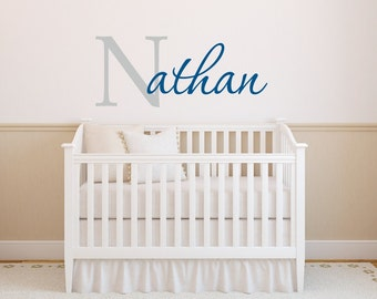 Wall Decals Nursery Etsy - Monogram vinyl wall decals for boys