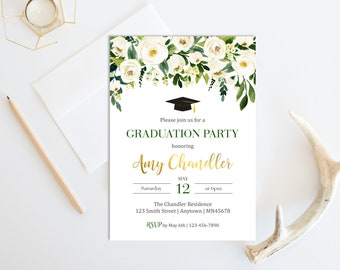 Graduation invite etsy white green gold floral graduation invite boho printable graduation invitation floral custom graduation party filmwisefo Image collections