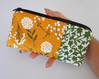Zipper Pouch for Phone Large Cosmetic Zipper Pouch ECO Friendly Padded NEW SIZE Mustard Toss with Vines