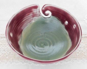 Thrown Stoneware Pottery Knitting Bowl with Yarn Slide, Yarn Bowl, Soft Green, Purple, 6 Holes