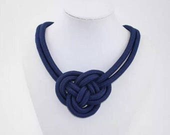 Navy Blue Nautical Knotted Rope Knot Statement Necklace