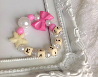 Personalized Bracelet for Girls, Racet with Name, Personalised Beaded Girl Bracelet Beaded Bow Bracelet Elastic Bead Bracelet for Girl Name