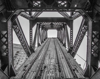 Chicago Photography-  Kinzie Bridge, Black and White Art Print, Chicago Wall Art, Chicago River, Train Tracks to Sky, Abstract Photo Print
