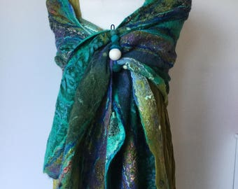 Nuno felted shawl - silk & wool Collage - easter gift - green blue jade purple cream lagenlook - ready to ship Art to Wear