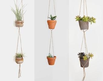 Double minimalist macrame plant hanger for hanging planters | 4 sizes raw jute twine pot holder | Indoor garden | Bohemian Home Decor