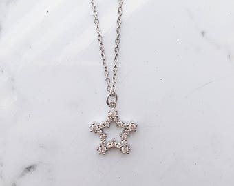 Star paved charm chain choker necklace, silver star choker necklace
