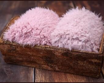 Faux Fur Newborn Photo Prop * super soft basket filler stuffer and bean bag covering * rose pink * flokati alternative