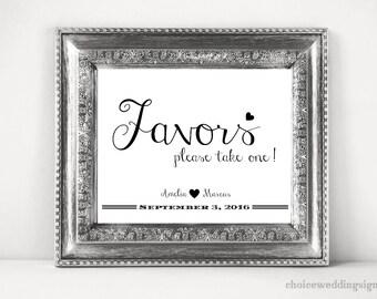 Wedding Favors Sign Printable In PDF + JPG (4x6, 5x7, 8x10, 11x14, 16x20, 18x24, 24x36, A5, A4, A3, A2, A1, A0, Custom) CWS307_1222C