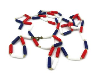 Red White Blue Glass Bead Necklace 50 Inches Long Patriotic Jewelry Fourth of July Vintage Costume Jewelry Crystal Beads Statement