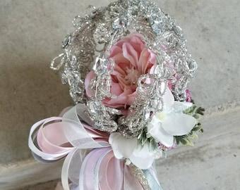 Cinderella Silver Pink Flower Girl Pom Wand