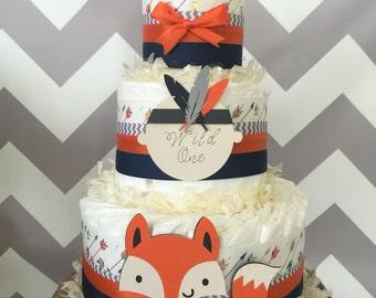 Wild One Tribal Diaper Cake in Orange, Navy and Gray, Tribal Baby Shower Centerpiece