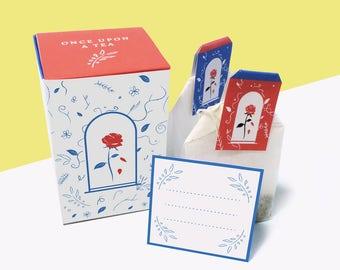 Printable Tea Party La Belle et la Bête, Idée cadeau fan Disney, Boîtes à thé à fabriquer, cadeaux d'invité, DIY boîte à thé rose éternelle
