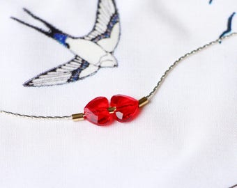 Pendant necklace Red Crystal hearts Swarovski, Golden beads with gold filled 14 k gold filled. Choker snake chain silver.