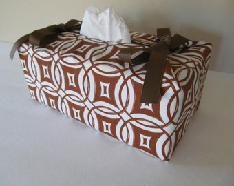 Tissue Box Cover/Brown Geometric