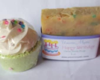 Happy Birthday gift set! Happy Birthday Cold Processed Vegan Homemade Bar Soap and Cupcake Bath Bomb!