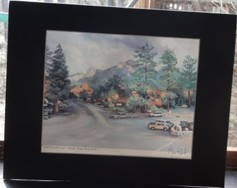 "Vintage 1992 Eileen Roberts Matted Print/Title "" Idyllwild View from the Fort."