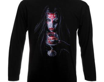 Gothic Vampire Woman Frau Long Sleeve T-Shirt