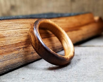 Mens Wooden Wedding Ring Whiskey Barrel Ring Copper