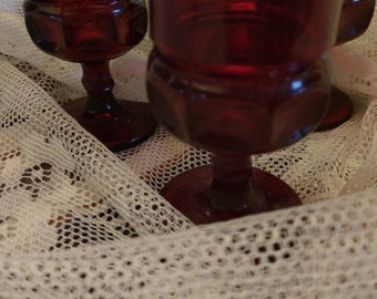 Beautiful Ruby Red Thumbprint Cordial Glassware
