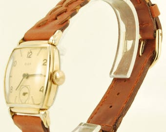 Elgin grade 554 vintage wrist watch, 15 Jewels, yellow gold (filled) & stainless steel square smooth polish case