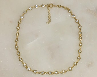 Bezel Set CZ Choker with 14K Gold Filled Clasp and Extender