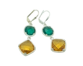 Citrine teal crystal gems silver earrings, Yellow crystal and silver drop earrings, Green and yellow crystal jewellery set, Gift for her