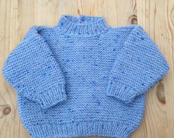 Blue knitted wool winter jumper 0-6 months size