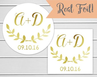 Rustic Wedding Sticker, Gold Foil on White Personalized Wedding Invitation Sticker, Wedding Stickers (#105-2-F)