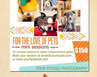 INSTANT DOWNLOAD Pets Mini Session template - MA047