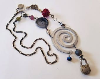 Spiral Necklace, Steampunk Necklace, Found Object Necklace, Statement Necklace