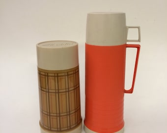 Vintage Red Orange Plaid Thermos Set