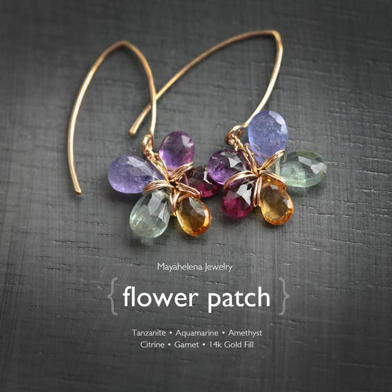 Flower Patch  - Tanzanite Aquamarine Amethyst Garnet and Citrine Flower Dangle 14k Gold Fill Earrings