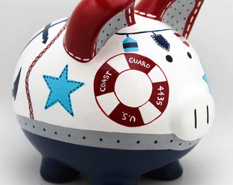 Oh Buoy Nautical Personalized Piggy Bank in Navy, Red and Grey