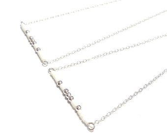 Silver bead necklace Short Necklace Silver Delicate Necklace Thin Layering Necklace Simple necklace Boho Necklace Tiny Bead necklace