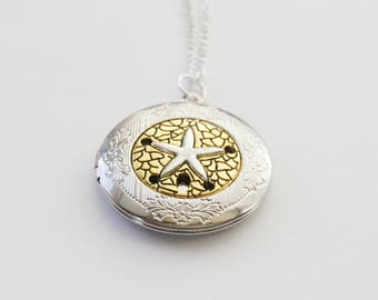 Beach Locket, Silver and Gold Locket, Sand Dollar Locket, Starfish locket, Silver Locket, Beach Locket Necklace, Nautical Locket Necklace
