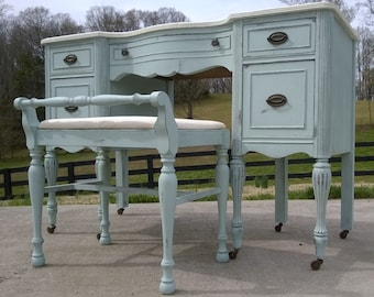 SOLD EXAMPLE.....Chalk Painted Vanity / Desk / In Annie Sloan Paint Shabby  Chic Distressed