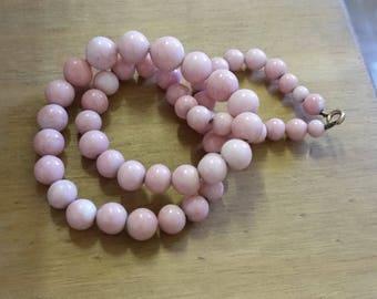 Vintage Pink Porcelain Beaded Necklace